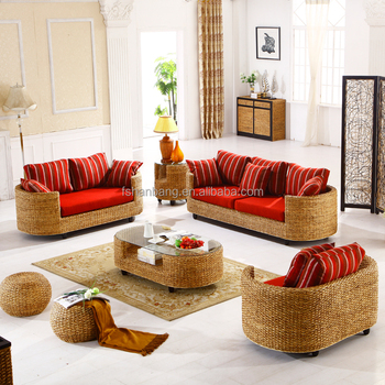 Contemporary Style Indoor Natural Rattan Seagrass Water Hyacinth Sea Weed  Real Wicker Conservatory Furniture Corner Sofa