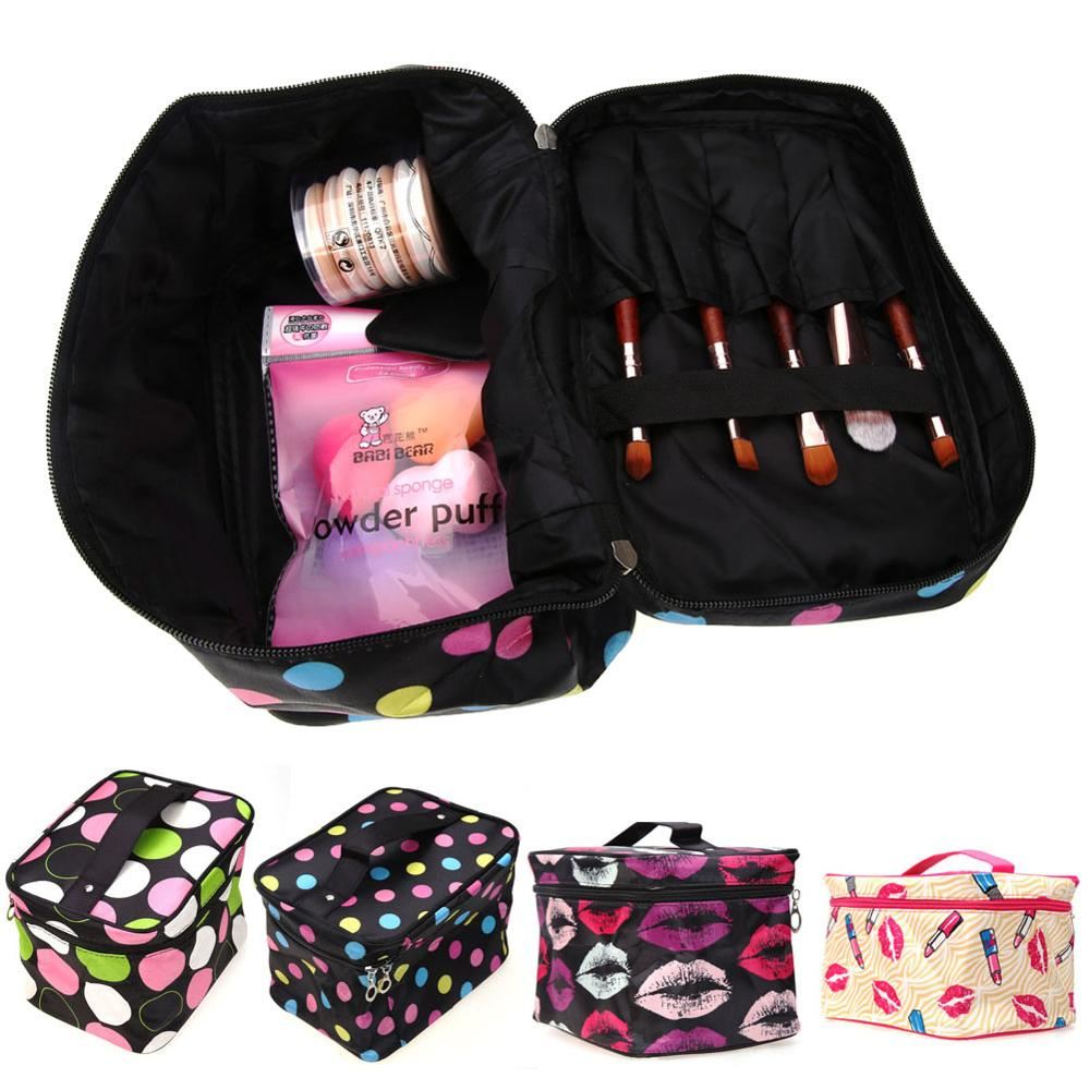 Portable Multifunction Professional Cosmetic Bag Double Sides Pouch Beauty Make Up Purse Cosmetic Cases Jewelry Storage Bags