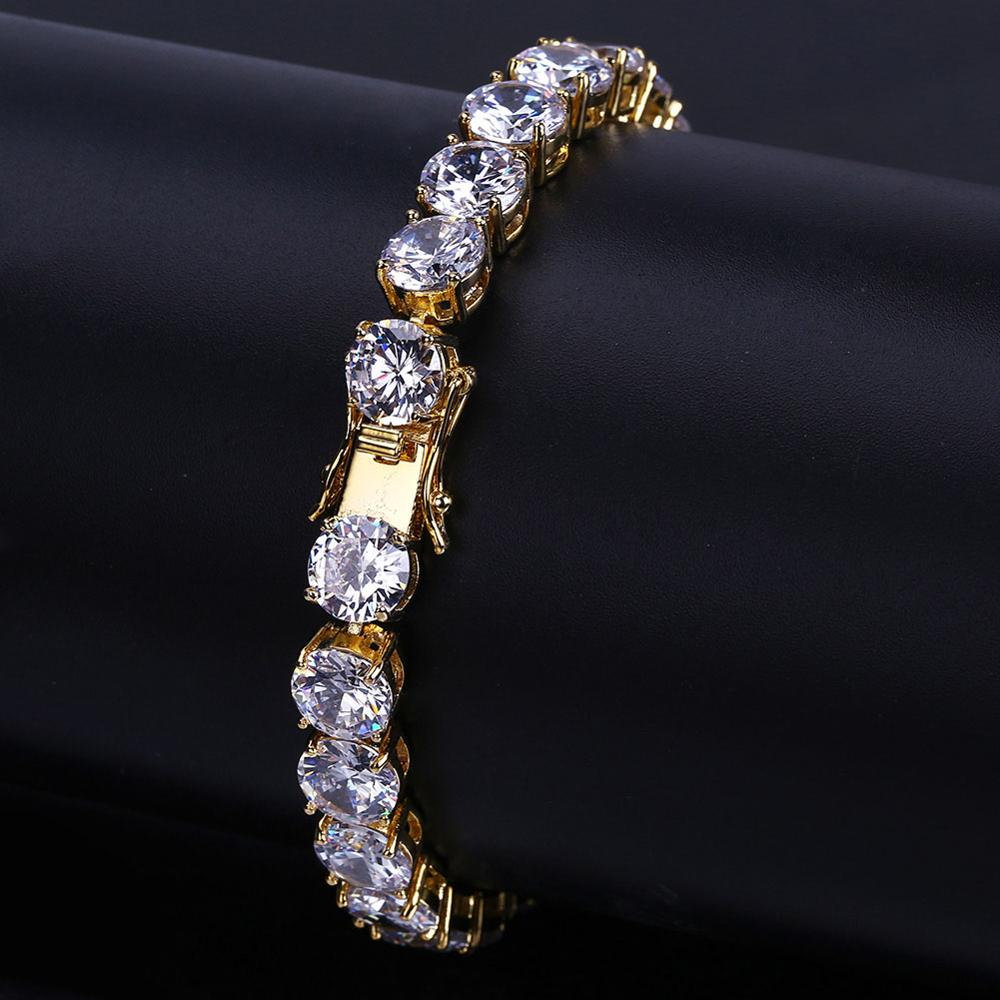 Hip Hop Iced Out Bling Jewelry <strong>Bracelet</strong> Gold/Silver Color Plated Micro Pave <strong>CZ</strong> Stone 8mm <strong>Tennis</strong> Chain <strong>Bracelets</strong>