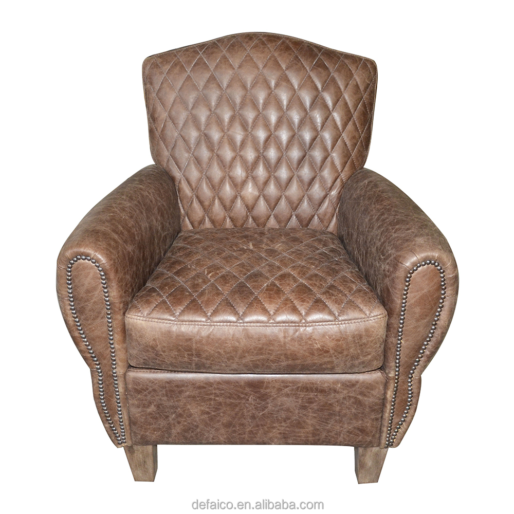 B1 French Style Upholstered Genuine Leather Cotton