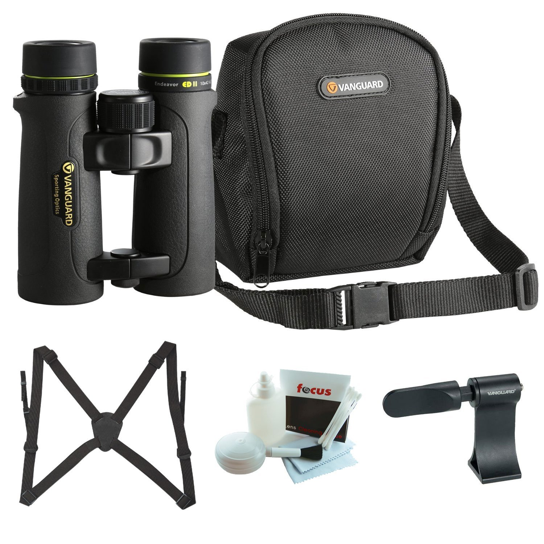 Vanguard Endeavor ED II 10x42 Binocular with Roof Prism Binocular Adaptor, Binocular Harness, and Cleaning Kit