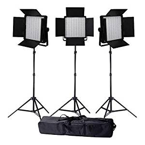 Ledgo Value Series Bi-Color AC/DC Sony LED Panel 600 3-Light Kit, Includes Bi-Color LED Panel 600, 8.0' Air Cushioned Stand, Interfit Stand Bag