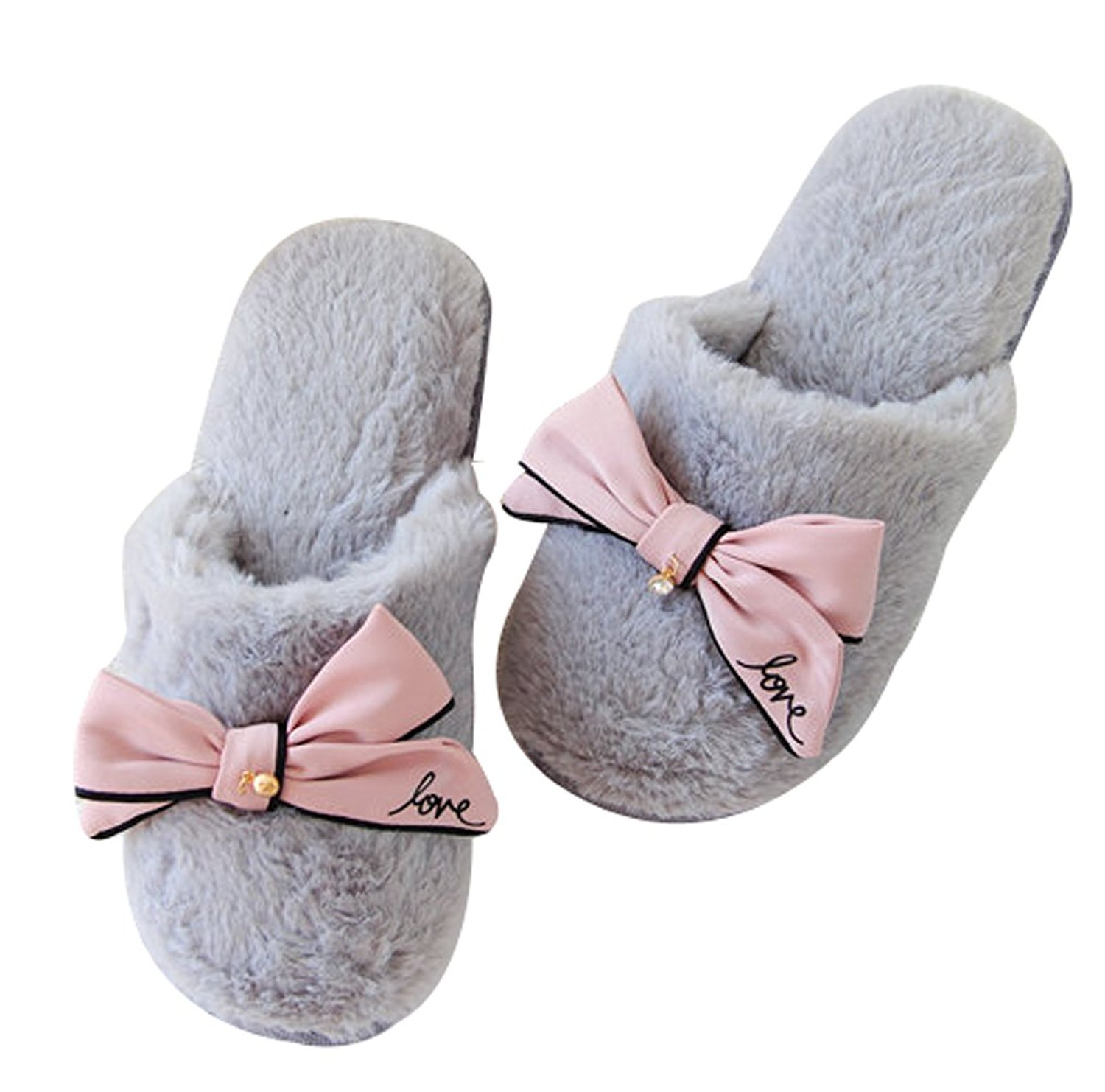 dfa422fd83c Get Quotations · FreLO Women s Pink Plush Butterfly Fluffy Slippers Cute  Slippers