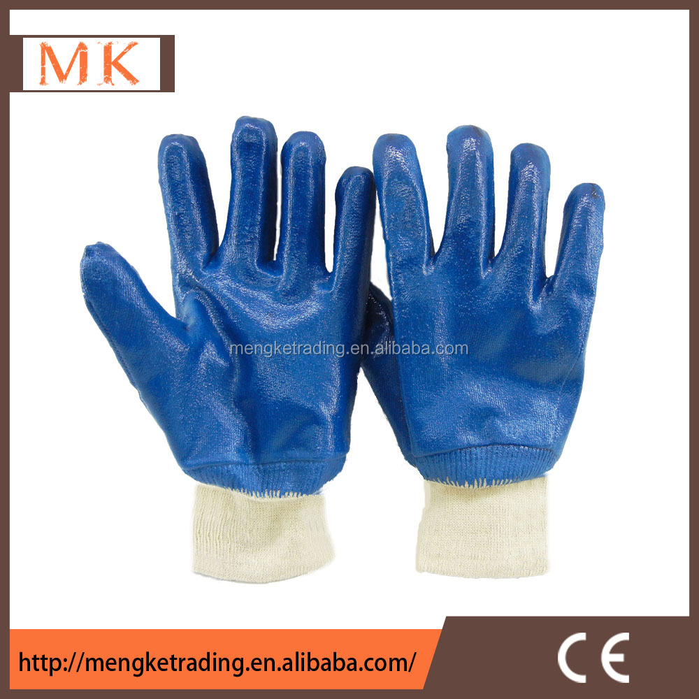 Blue nitrile rubber hand glove