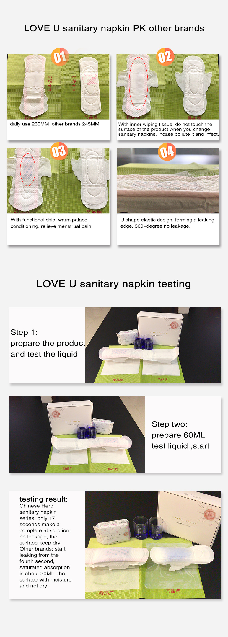 Purity love u ladies napkin disposable organic sanitary pads women disposable