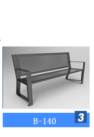 Gavin antirust powder coated steel pipe outdoor metal park bench