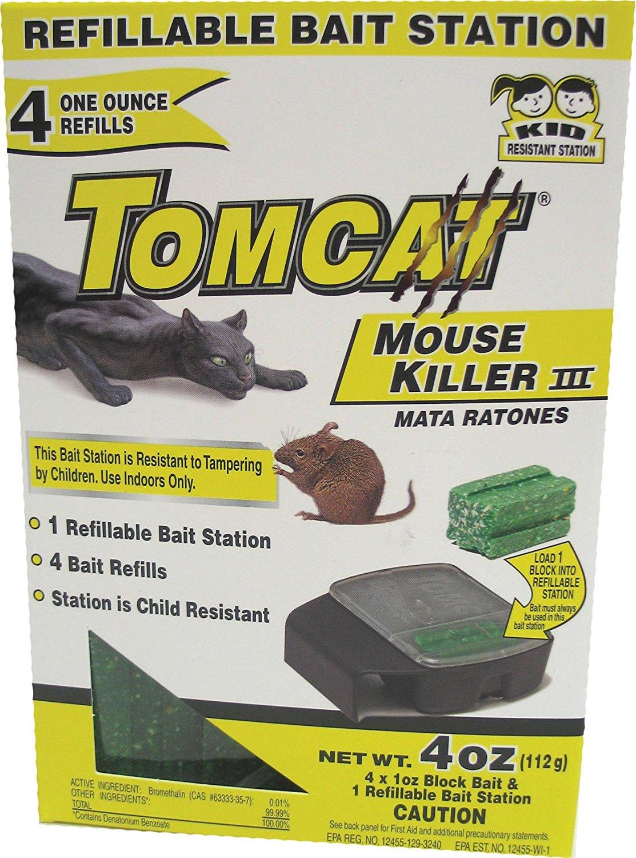 Motomco Tomcat Mouse Killer III Refillable Mouse Bait Station, 4-Pack