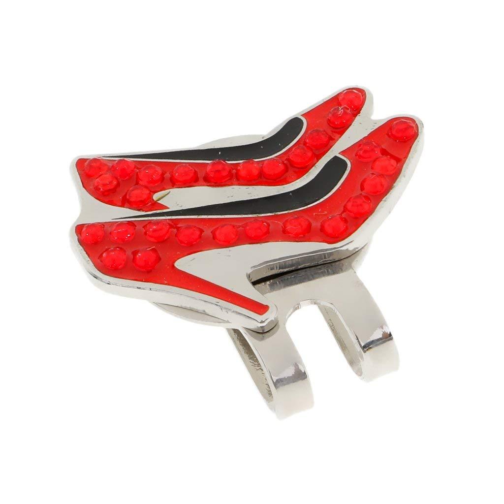 Jili Online Pretty Red High-heels Magnetized Hat Clip Golf Ball Marker Clip On Cap Visor