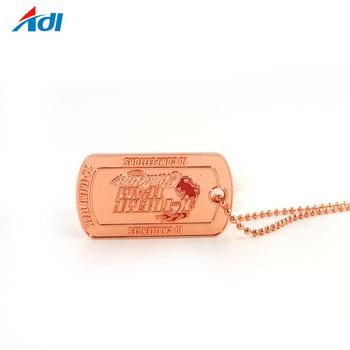 High quality customer design copper plating military dog tag for men