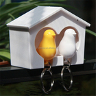 Top quality lovely bird house keychain holder bird whistle key ring sparrow key ring 5 colors