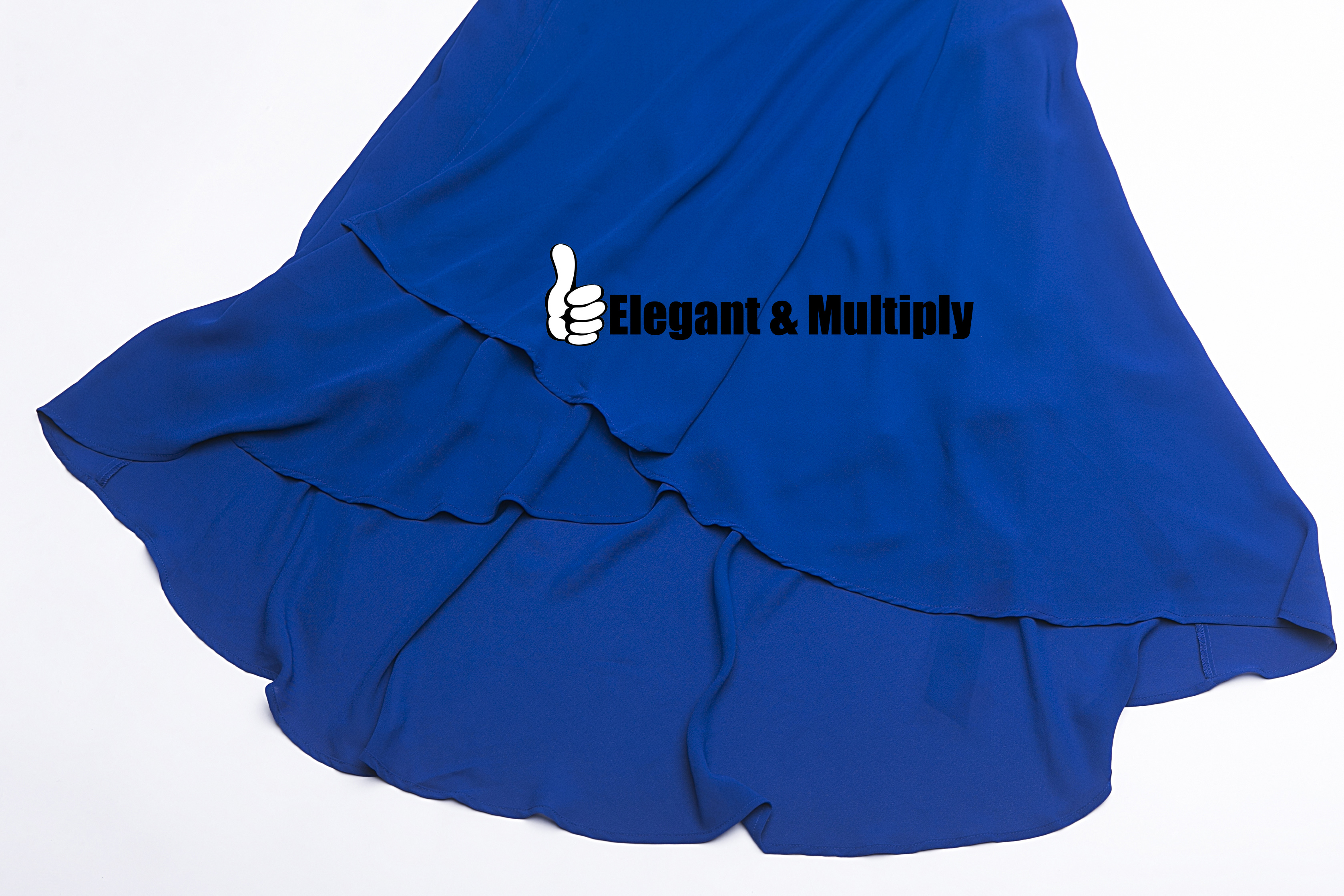 2019 Blue Black Long Maxi Chiffon Short Flare Sleeve Irregular Hem Split Women Summer Dress