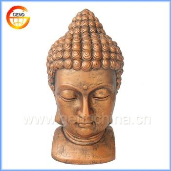 Home And Garden Religious Buddha Head, Gold Buddha Statue