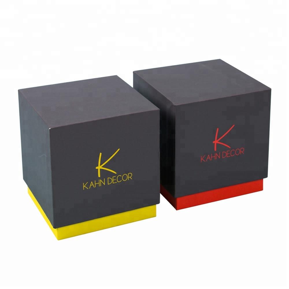 High End Elegant Small Square Jewellery Box Black Paper Cardboard Gift Box With Custom Logo