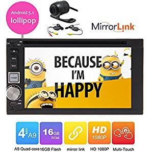 Hot sale 6.2 inch Car DVD Player Universal capacitive touch screen mirror link 2 Din Android 5.1 lollipop Bluetooth Car stereo radio headunit video player Double 2 Din In-dash Wifi GPS Navigation 1080