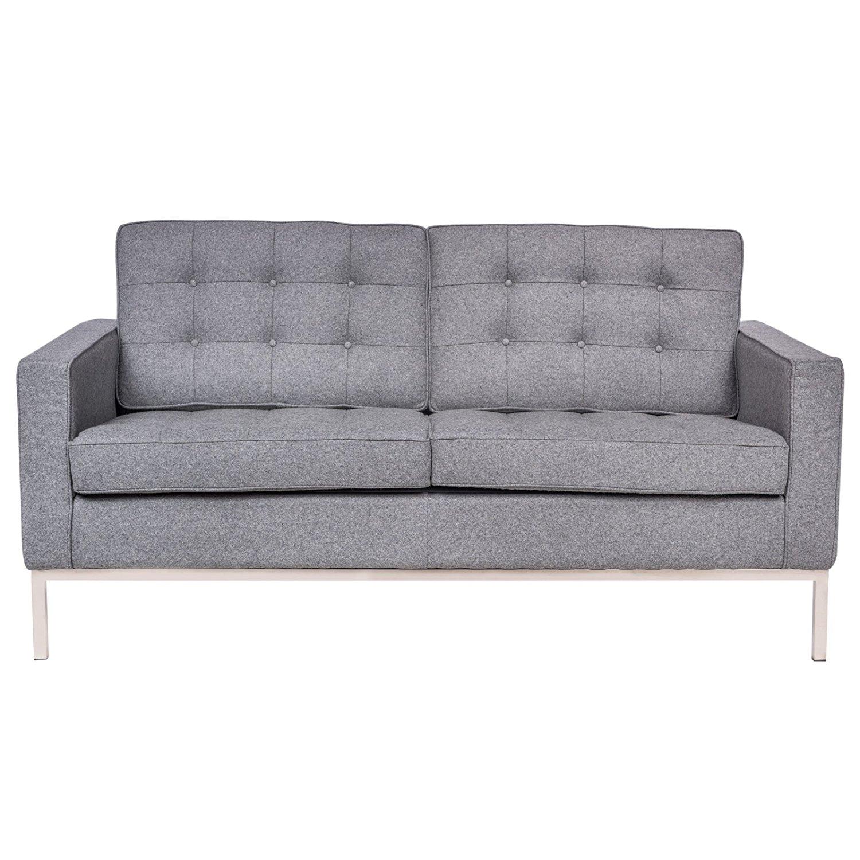 LeisureMod Florence Style Mid Century Modern Tufted Loveseat Sofa In Light Grey Wool
