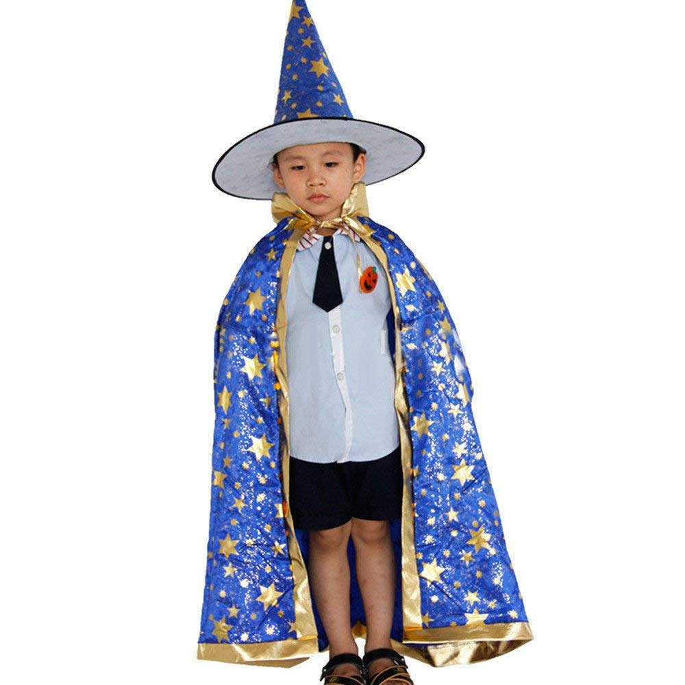 Jshuang Unisex Halloween Children's Cloak Cape Hat Set, Cloak Cape with Gold Stamping Star and Witches Pointy Hat, Satin, Child Height 100-160cm (Blue)
