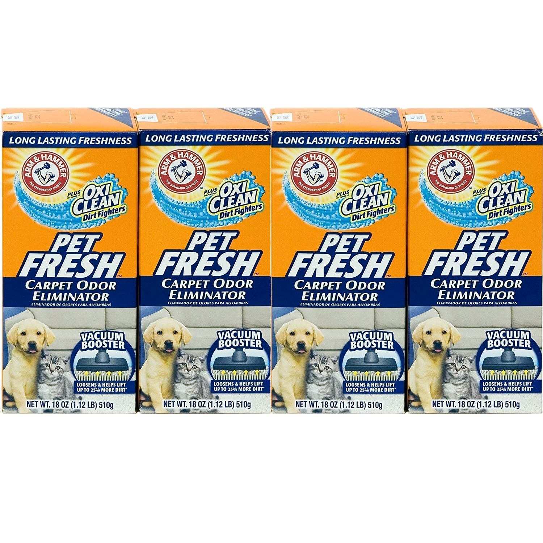 Arm & Hammer Pet Fresh Carpet Odor Eliminator Plus Oxi Clean Dirt Fighters, 18 oz, 4-Pack