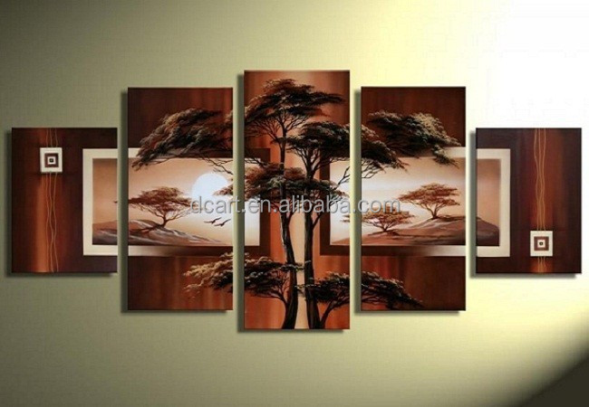 Modern wall art group 5 pieces tree canvas oil painting