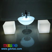 Rotational Molding Plastic led light up outdoor furniture outdoor plastic led tea table and cube chair