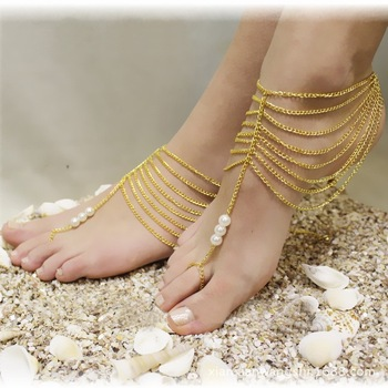 Sexy rhinestone barefoot sandals Foot bracelet Beach foot jewelry with  pearl cross beads anklets for women 9a87352f223c
