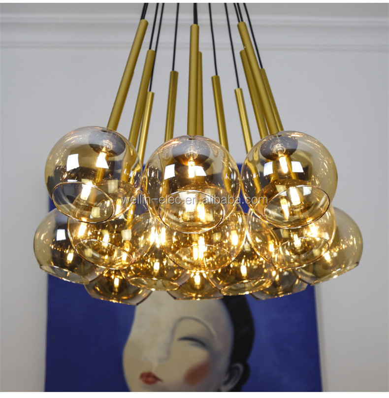 Led Hanging Light Bulbschandelier Candle Cups Pendant Lamp For Dining Room