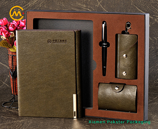 Factory supplier custom brown spiral loose leaf PU leather journal notebook gift set
