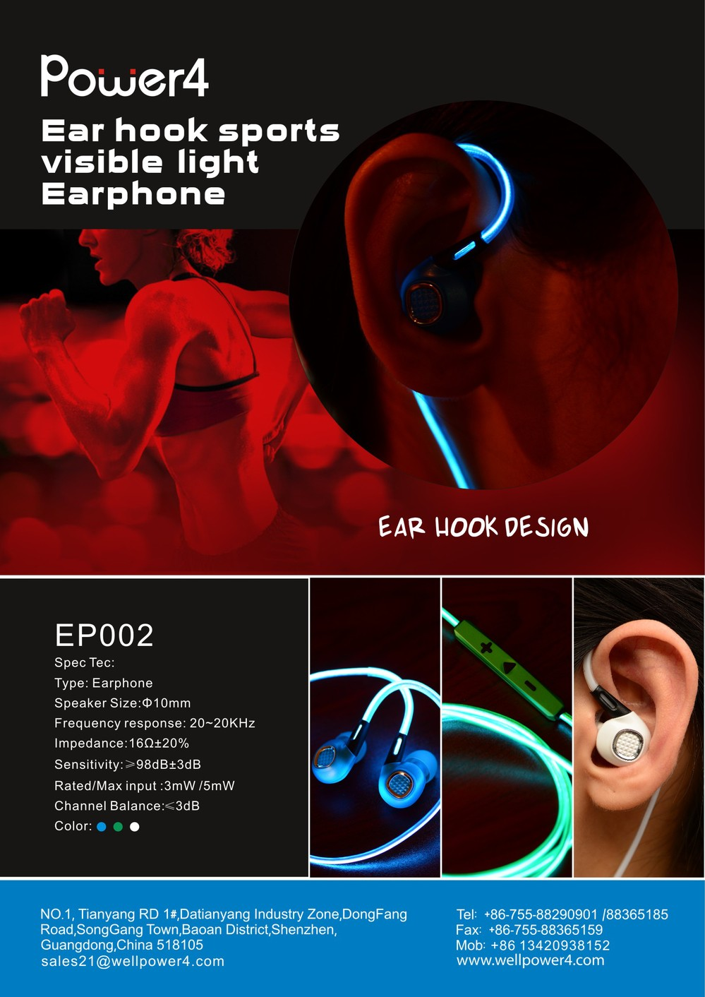 High Quality EL Cable glowing Earphones Earbuds 3 5mm with