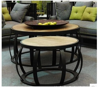 Simple Retro Living Room Coffee Table Small Round Wood
