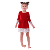 2019 fashion wholesale child clothing red long sleeve lace dress boutique girl dress