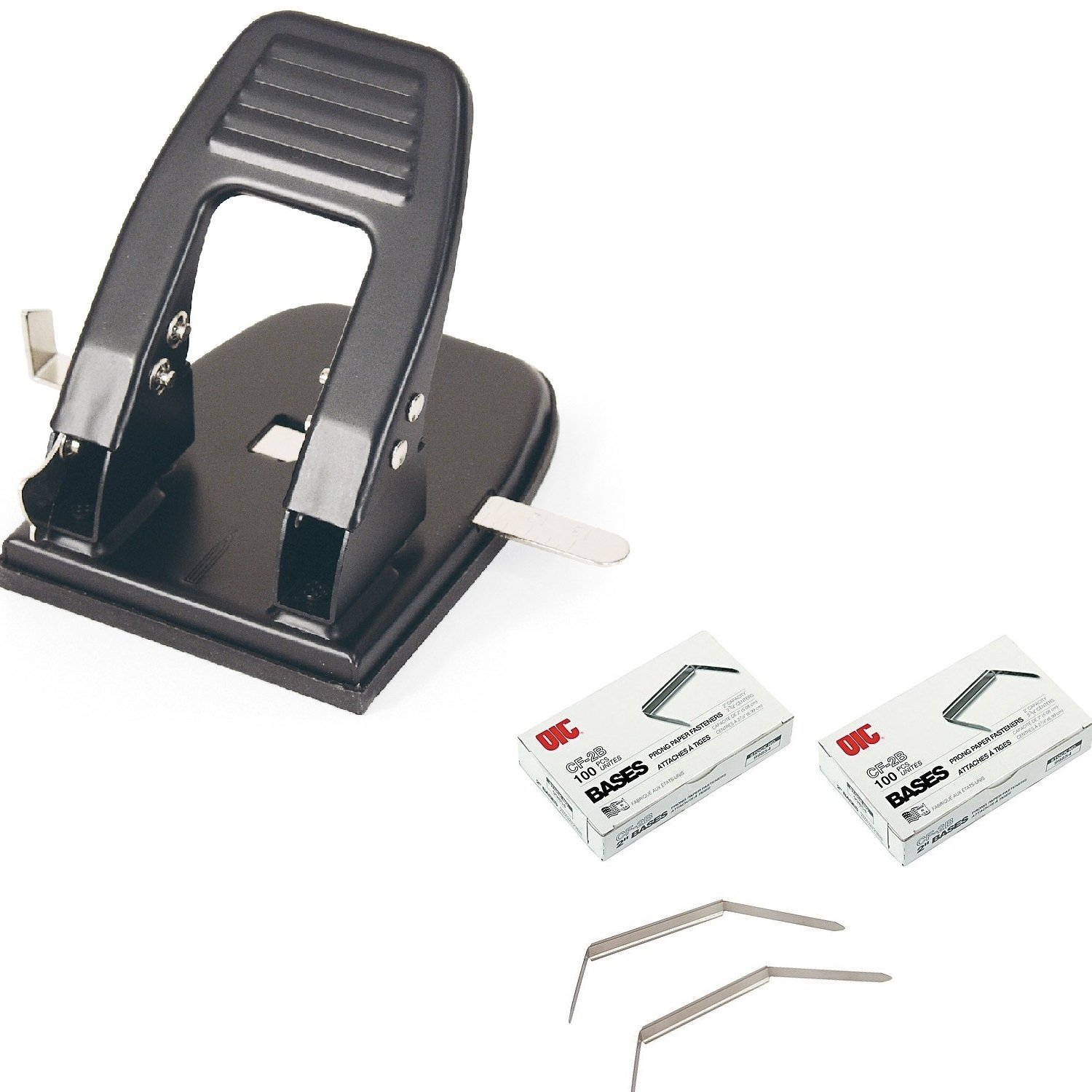 Officemate 2 Hole 2-3/4 Inch Punch 30 Sheet Capacity, Black (90092) and Prong Paper Fastener, Bases Only, 2 inch Capacity, 2-3/4 inch Base, Pack of 2 Boxes 200 Pcs (99854)