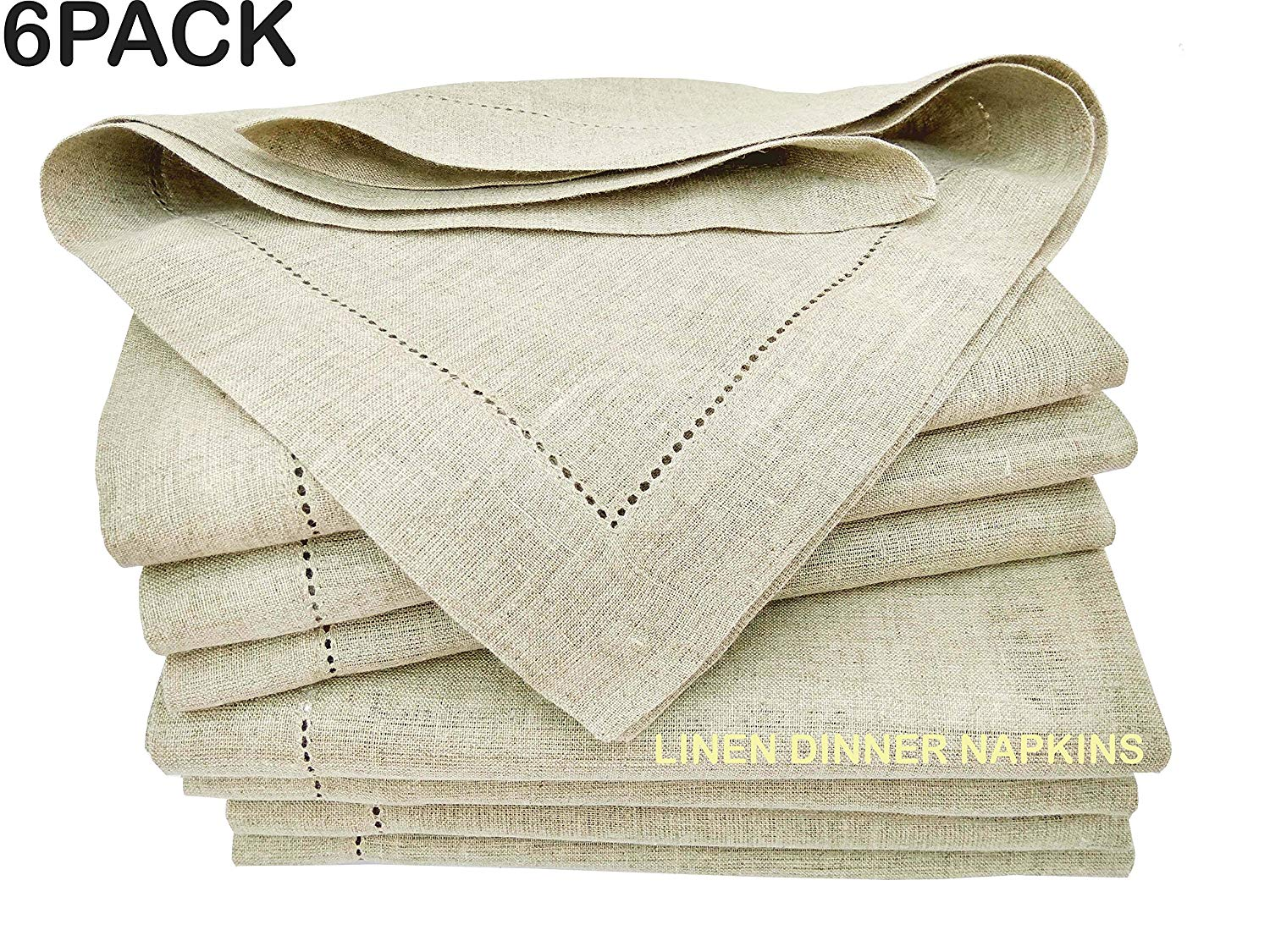 Linen Clubs 6 Pack,100% Pure Linen Rustic Dinner Napkin with Hem Stitched 20X20, Natural Color Hemstitched Hand Made Ladder Lace Look Napkins. One of Life's Little Home Luxuries