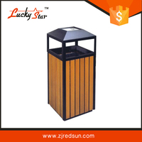 fashion trash can fast shipping wooden garbage bin at garden litter case with suared shape