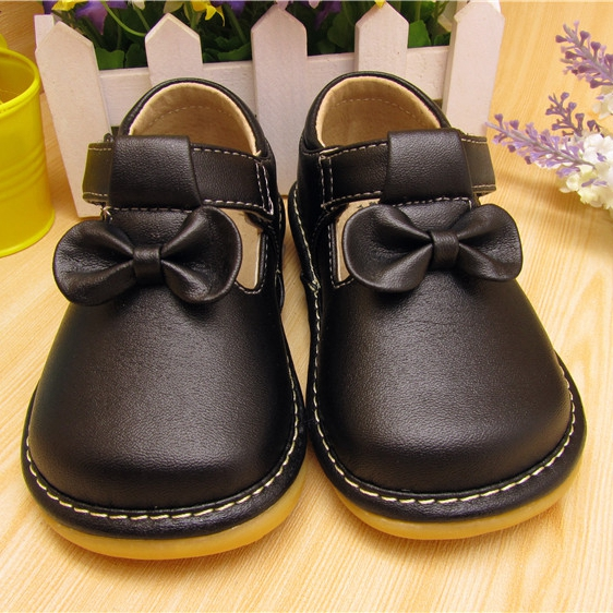2016 Sping Autumn Baby Girl Squeaky Shoes Black Butterfly knot Shoes
