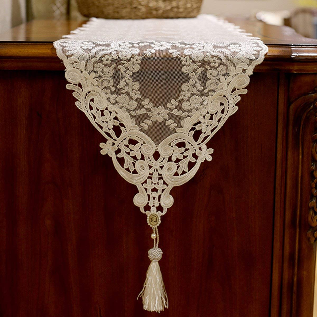 """Premium Gold Lace Table Runner Hollow Embroidery Table Cloth with Tassel Pendant for Kitchen Dining Wedding (48""""L, Gold)"""