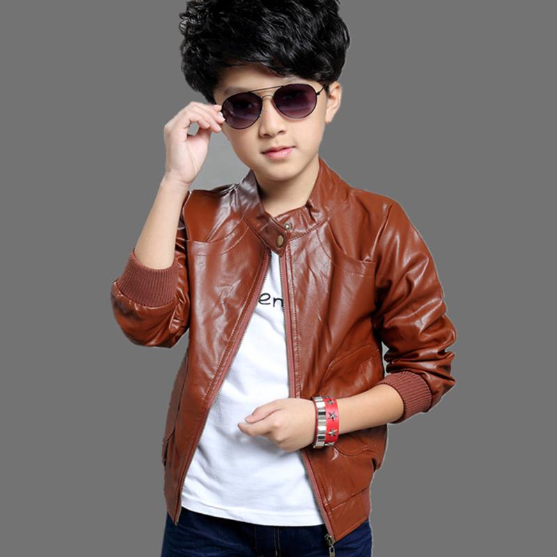 Kids Clothing 2015 Boy Leather Jacket Korean Boy Leather Coat