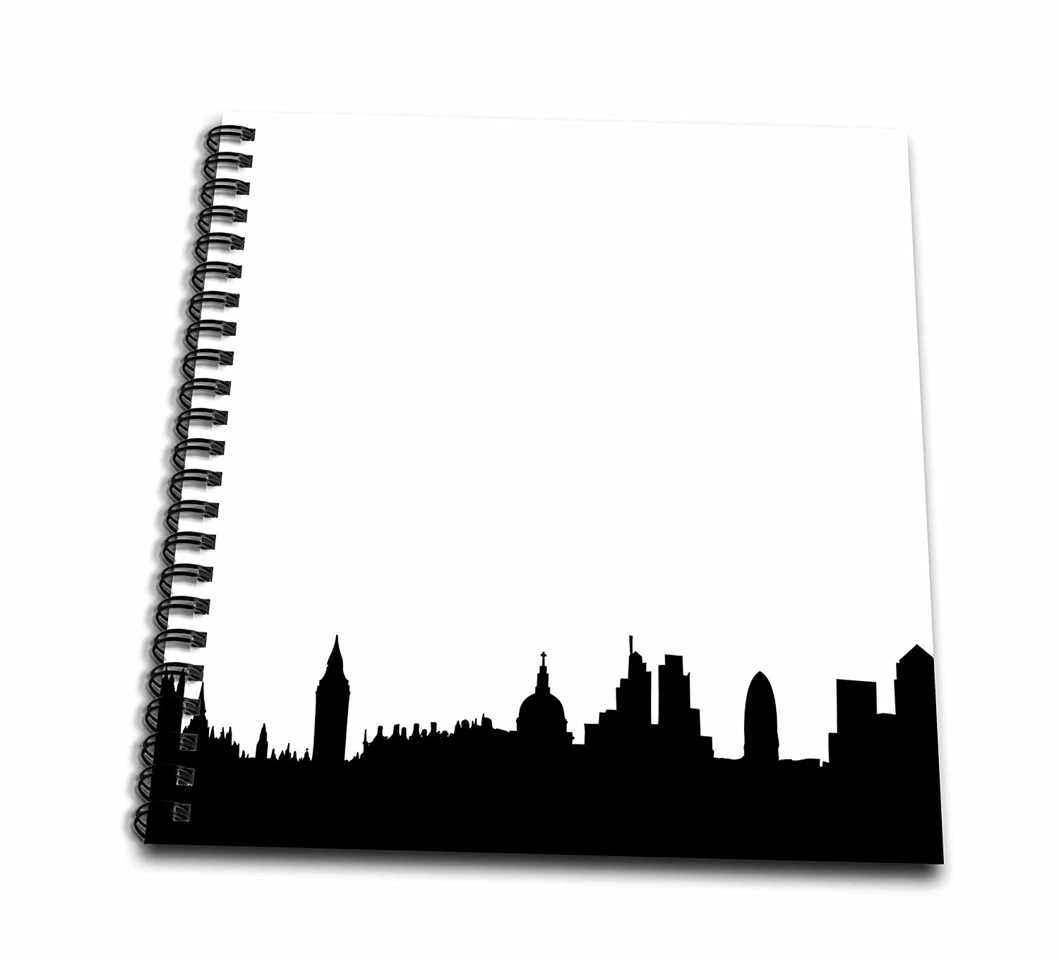 3dRose db_113052_1 London Skyline Silhouette Stylish Black and White Buildings Modern Contemporary UK British Souvenir-Drawing Book, 8 by 8-Inch