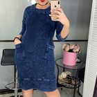 Autumn Winter 2019 New Women Clothing Plus Size Blue Loose Straight Skirt Casual O Neck Three Quarter Denim Dress