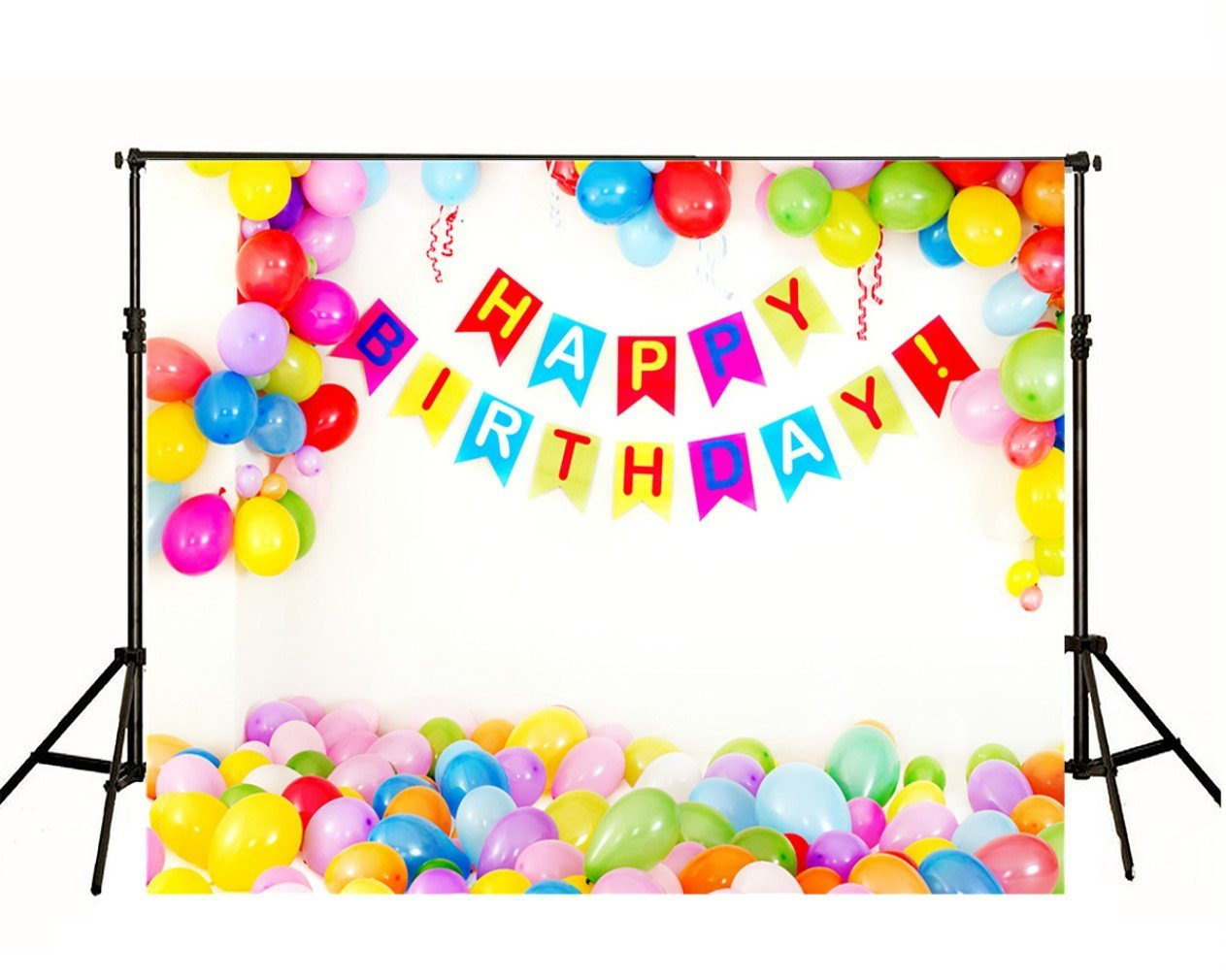 Happy Birthday Photographic Backgrounds Colorful Balloons Children Kids Party Backdrops Photography Booth Studio Shoot Wallpaper Props