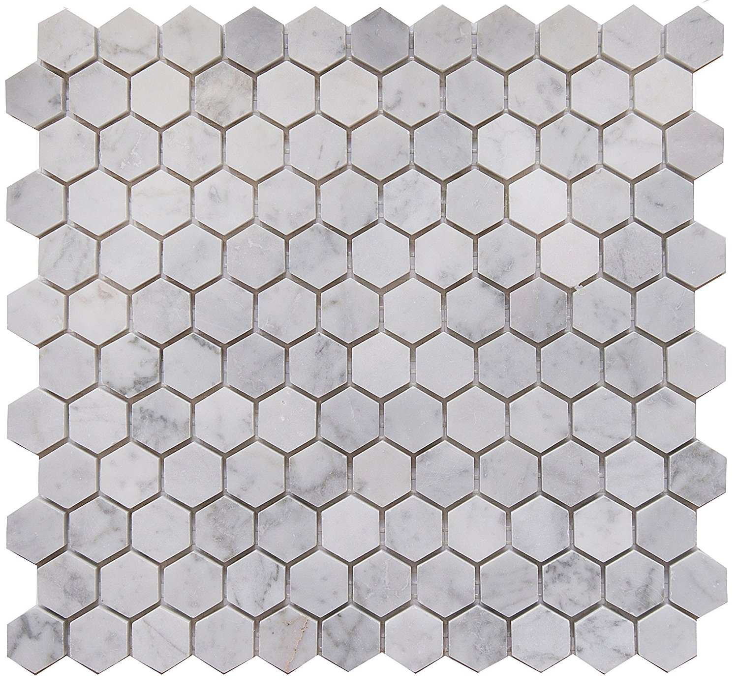 """Carrara White Marble Mosaic Tile, CWMM1HEX-H, Chip Size 1"""" Hexagon, 11-1/2""""X11""""X3/8"""", Honed (Lot of 50 Sheets)"""
