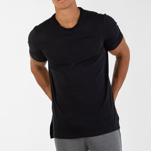 Whole sale latest t shirt designs for men side split 95 cotton 5 elastic pocket t shirt