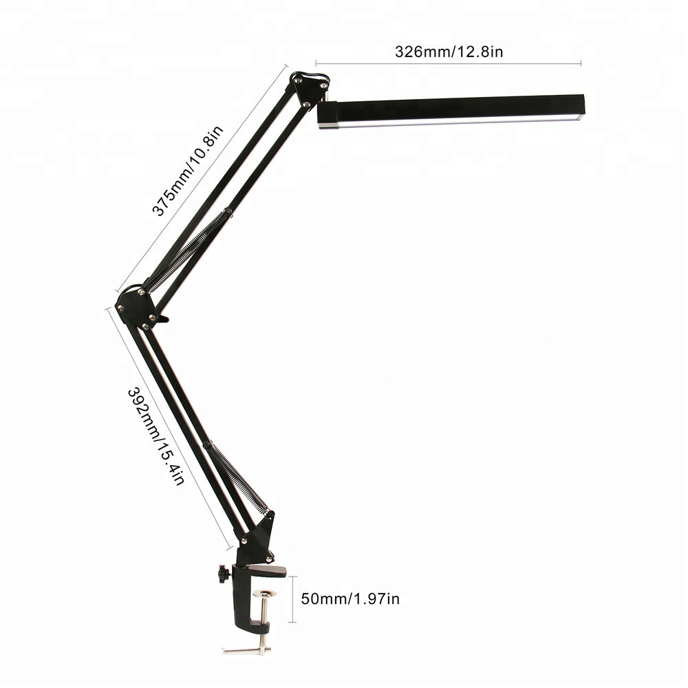 UYLED Industrial Black 740lm RA>80 Dual Color Temperature Dimmable Folding Clip Clamp LED Table Desk Lamp