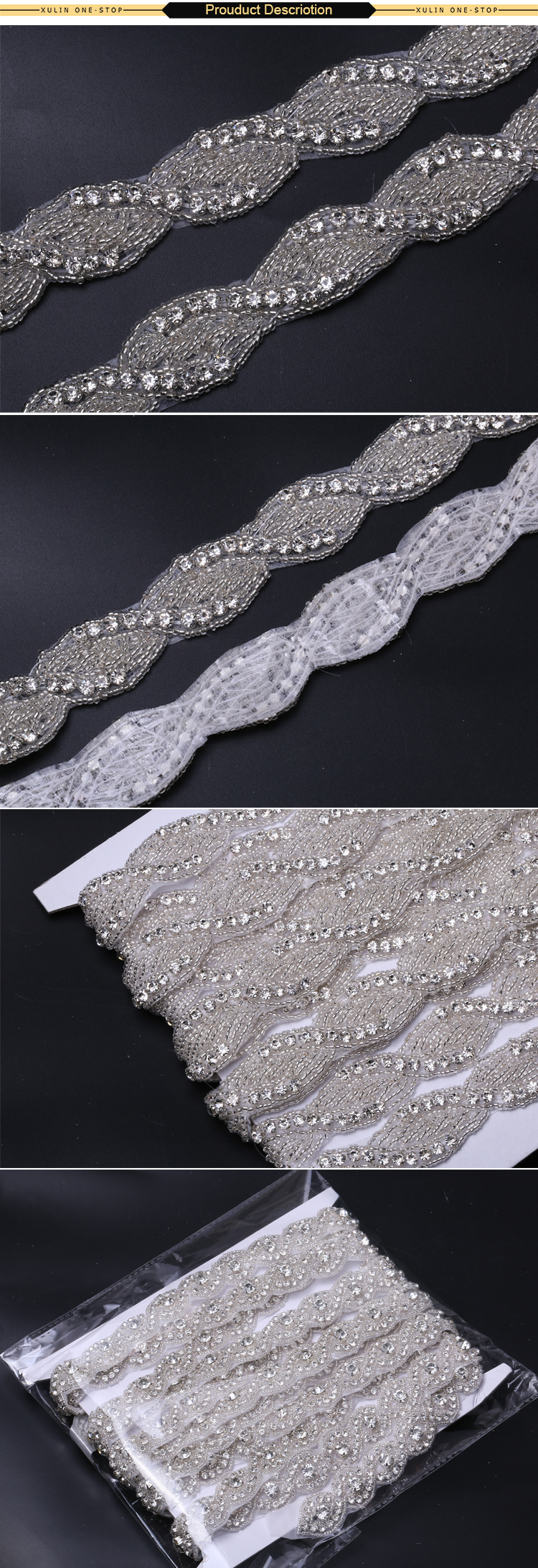 XULIN Clear AB Silver Gold Bodice Crystal Applique Appliques and Trimmings for Dresses belt