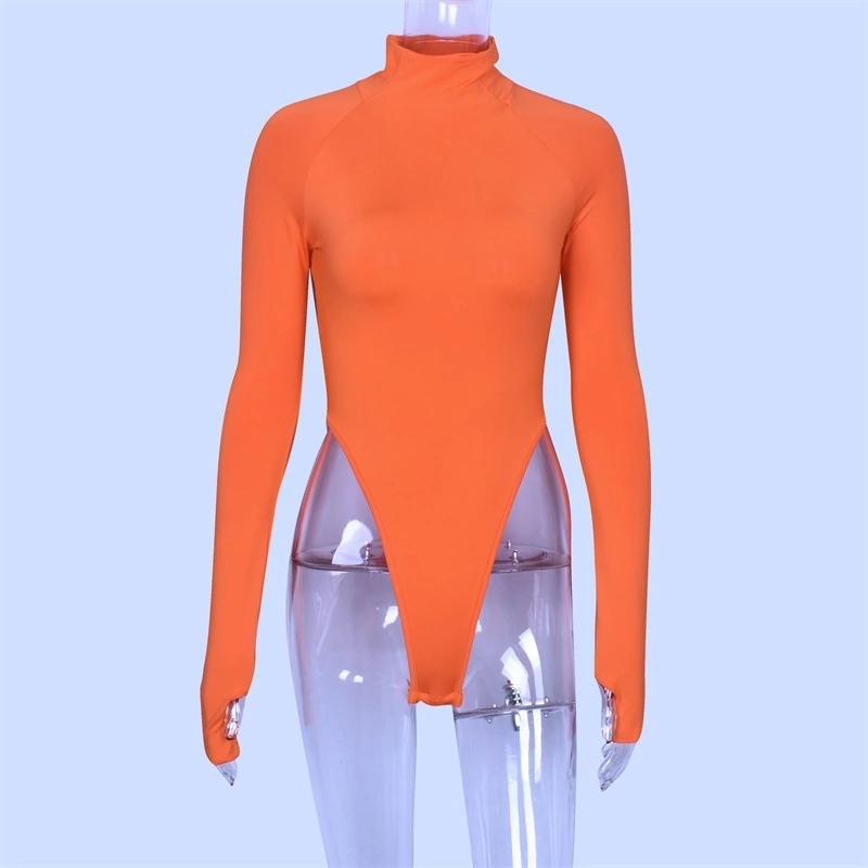 fashion Long Sleeve Turtleneck Bodysuit Women High Leg Neon Bodysuits