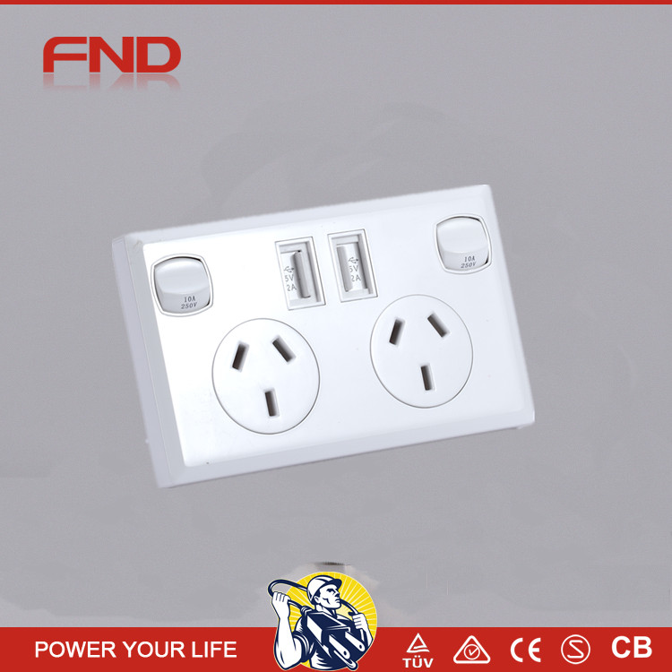 new design wall switch 2 gang double usb ports wall outlet