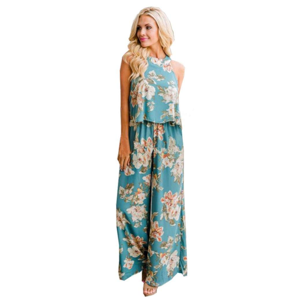 Sumen Women Sleeveless Floral Print Top Blouse Shirt + High Waist Wide Leg Pants Summer Two-Piece Outfit