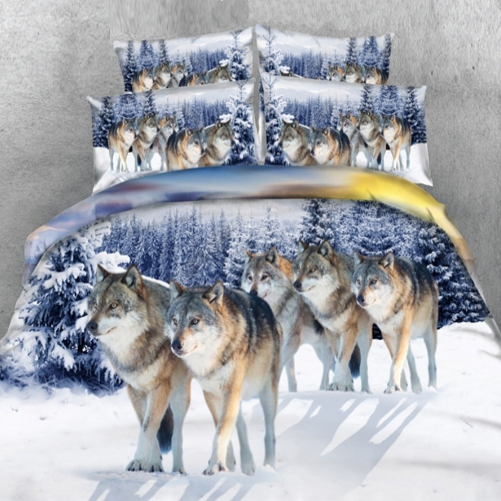 Alicemall King Size Wolf Bedding Set Lifelike Snow Wolf Digital Printing 5-Piece Comforter Sets, Twin/ Full/ Queen/ King Size (King)