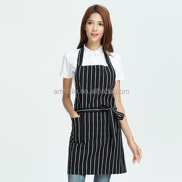 new design 65 polyester 35 cotton printed cooking kitchen fabric chef bib apron with custom logo