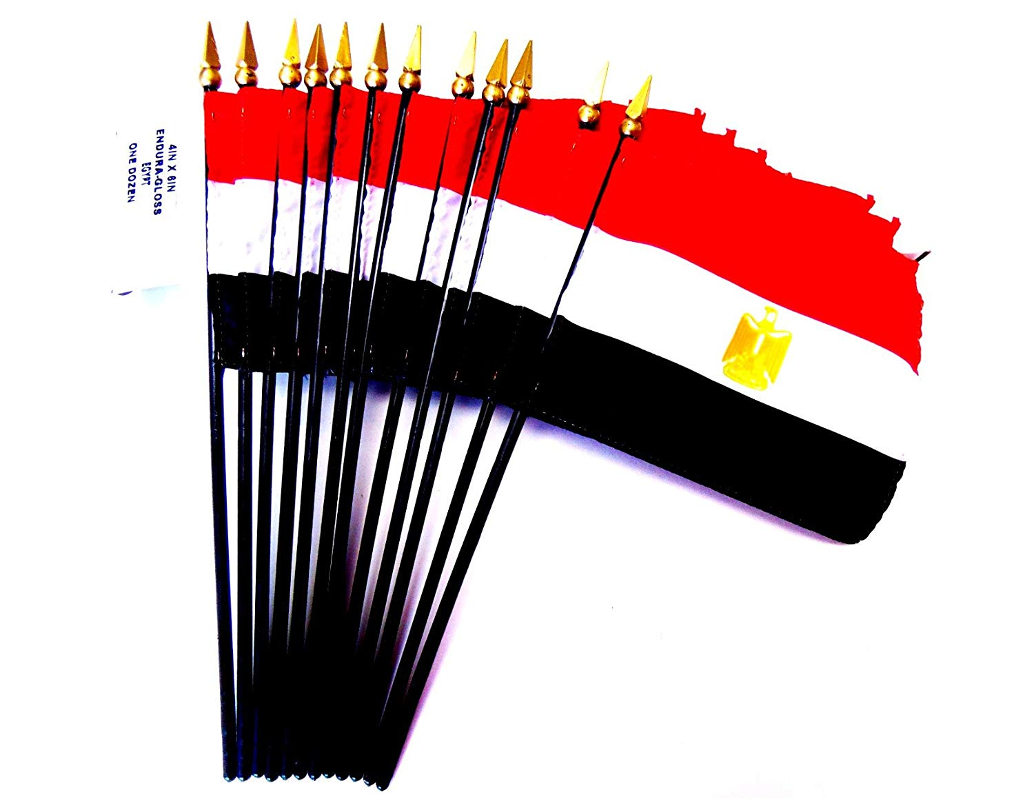 "MADE IN USA!! Box of 12 Egypt 4""x6"" Miniature Desk & Table Flags; 12 American Made Small Mini Egyptian Flags in a Custom Made Cardboard Box Specifically Made for These Flags"