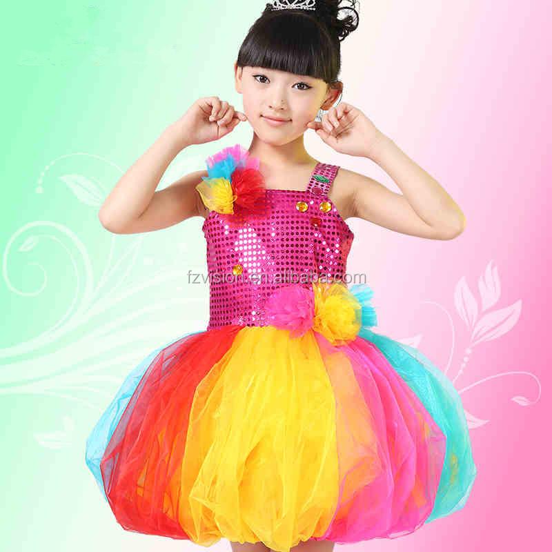 Niños al por mayor niños niñas Arco Iris vestido de baile latino ...