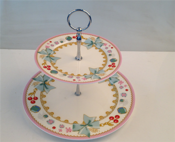 good quality 2 tier ceramic cake stands for sale